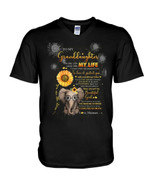 The Day You Came Into My Life Elephant Sunflower Meemaw Gift For Granddaughter Guys V-Neck