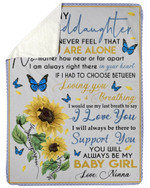 Never Feel That You Are Alone Gift For Granddaughter Sherpa Blanket