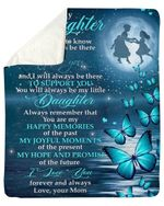 My Happy Memories Blue Butterflies Mom Gift For Daughter Fleece Blanket Sherpa Blanket