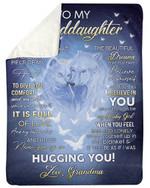 Grandma Gift For Granddaughter Fleece Blanket White Wolf I Believe In You Sherpa Blanket