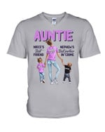 Purple Pink Design How Important Of Auntie To Niece And Nephew Family Gift Guys V-Neck