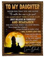 Fleece Blanket Dad Gift For Daughter Lion Sunrise Always Love You Fleece Blanket