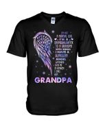 Gift For Angel Grandpa I Have A Guardian Angel Watching Guys V-Neck
