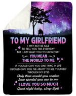 Purple Night Gift For Girlfriend You Mean The World To Me Fleece Blanket Sherpa Blanket