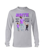 Purple How Important Of Auntie For Niece And Nephew Family Gift Unisex Long Sleeve