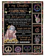 Hippie How Much I Love You Mom Gift For Daughter Fleece Blanket Sherpa Blanket