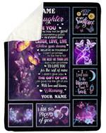 Laugh Love Life Purple Butterflies Fleece Blanket Mama Gift For Daughter Sherpa Blanket
