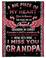 Gift For Angel Grandpa Grandpa In Christ Pink Angel Wing Fleece Blanket