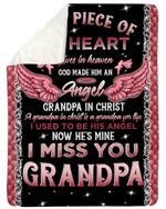 Gift For Angel Grandpa Grandpa In Christ Pink Angel Wing Sherpa Blanket
