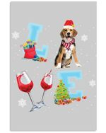 Beagle Love Wine Christmas Atmosphere Gift For Dog Lovers Vertical Poster