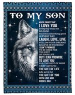 Never Forget That I Love You Sparkling Sky Wolf Father Gift For Son Fleece Blanket