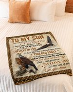 Never Forget That I Love You Eagle Vintage Design Father Gift For Son Fleece Blanket