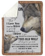 Grandpa Gift For Grandson Wolf Love You For The Rest Of Mine Sherpa Blanket