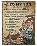Tiger Many Reasons To Be Proud Of You Gift For Son Fleece Blanket