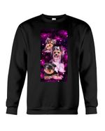 Lovely Coffee Cup With Purpel Rose Gift For Yorkshire Terrier Lovers Sweatshirt