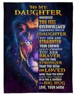 Whenever You Feel Overwhelmed Thunder Lion Mom Gift For Daughter Fleece Blanket