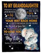 Never Forget Your Way Back Home Gift For Granddaughter Fleece Blanket