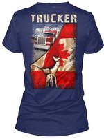 Trucker Love Truck Behind American Flag Trending Ladies V-neck