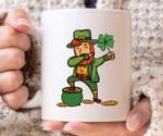 Dabbing Leprechaun Holding Shamrock St Patrick's Day Printed Mug