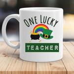 One Lucky Teacher Rainbow Irish St. Patrick's Day Printed Mug