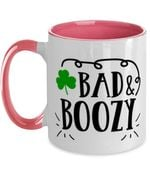 Bad And Boozy White And Pink Clover St Patrick's Day Printed Accent Mug