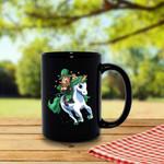 Leprechaun Riding White Unicorn Clover St Patrick's Day Printed Mug