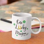 Lucky Mama Gold Horseshoe Clover St Patrick's Day Printed Mug
