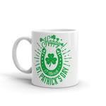 Happy St Patrick's Day Green Horseshoe And Shamrock Printed Mug