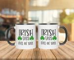 Irish Lass Full Of Sass Shamrock St Patrick's Day Printed Accent Mug