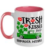Clover St Patrick's Day Printed Accent Mug Irish Kisses And Shamrock Wishes