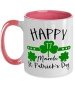Happy 17 March Clover St Patrick's Day Printed Accent Mug