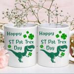 Happy St. Pat Trex Horror Dinosaur Shamrock St. Patrick's Day Printed Mug