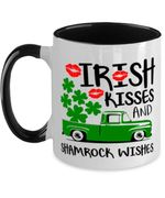 Irish Kisses And Shamrock Wishes Clover St Patrick's Day Printed Accent Mug