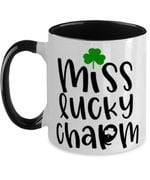 Miss Lucky Charm Clover St Patrick's Day Printed Accent Mug