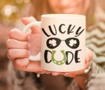 Lucky Dude Sun Glasses Clover St Patrick's Day Printed Mug