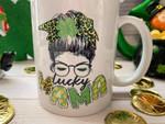 Lucky Mama Lady With Ribbon Shamrock St Patrick's Day Printed Mug