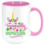 Magically Unpinchable Unicorn Shamrock St Patrick's Day Printed Accent Mug