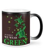 Turtle In March We Wear Green Shamrock St Patrick's Day Printed Mug
