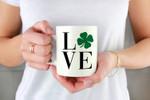 St. Patrick's Day Green Shamrock Love White Printed Mug