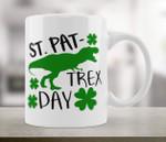 St. Pat Trex Day Roaring Dinosaur Shamrocks St. Patrick's Day Printed Mug