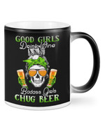 Badass Girls Chug Beer Shamrock St Patrick's Day Printed Mug