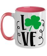 White And Pink Love Clover St Patrick's Day Printed Accent Mug