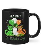 Three Cats With Balloons Shamrock St Patrick's Day Printed Mug