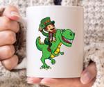 Leprechaun Riding Trex Clover St Patrick's Day Printed Mug