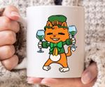 Cat Leprechaun With Green Drinks Shamrock St Patrick's Day Printed Mug