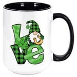 Gnome Holding Golden Horseshoe Clover St Patrick's Day Printed Accent Mug