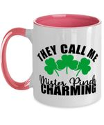 White And Pink Mister Pinch Charming Shamrock St Patrick's Day Printed Accent Mug