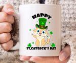 Yellow Cat Clover St Patrick's Day Printed Mug