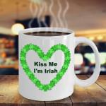 Kiss Me I'm Irish Heart Shamrock St Patrick's Day Printed Mug