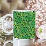 Green Background Clover St Patrick's Day Printed Mug